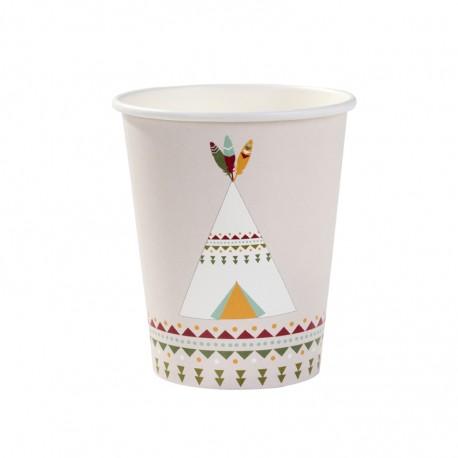 Bicchieri in carta Pow Wow per festa indiani
