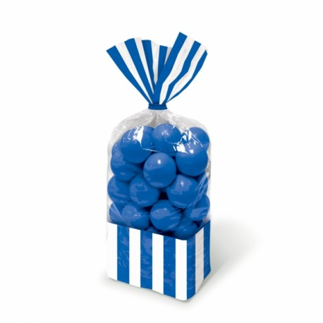 Striped Blue cellophane bags