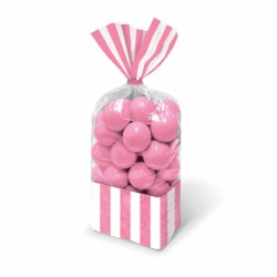 Striped Pink cellophane bags