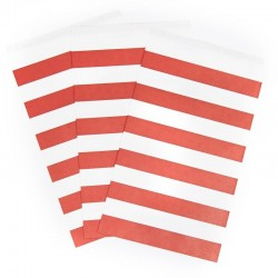 Red Striped Paper Treat Bags