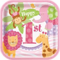 Pink Safari Dessert Plates