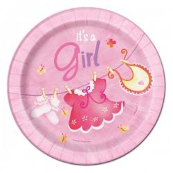 Pink Clothesline Dessert Plates