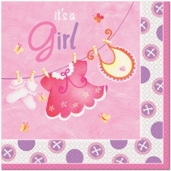 Pink Clothesline Lunch Napkins