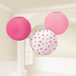 Pink Dot Paper Lanterns Set