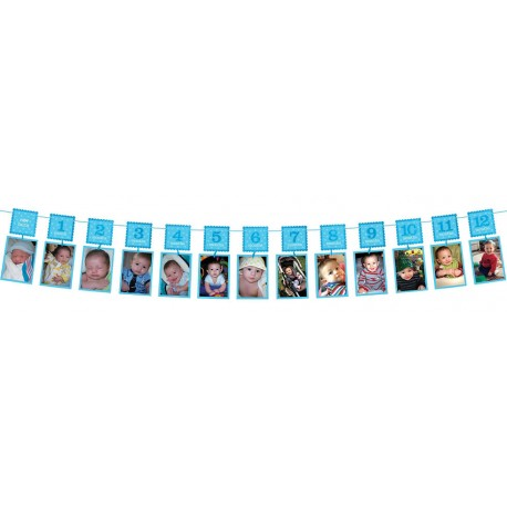 1st Birthday Blue Photo Garland