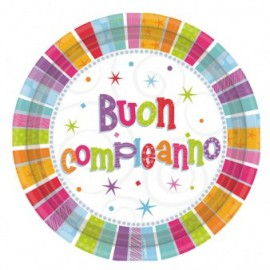 Piattini Radiant Birthday 18cm 8pz