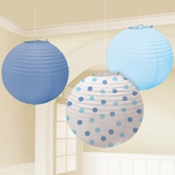 Blue Dot Paper Lanterns Set