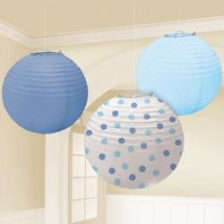Set lanterne Blu e Azzurro a Pois