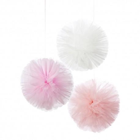Pink Tule Pom Poms