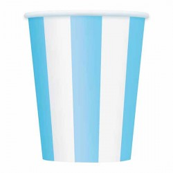 Pastel Blue Striped Paper Cups