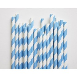 Blue Striped Paper Straws 10pc