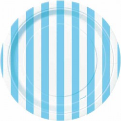 Piattini carta a righe Azzurro e Bianco