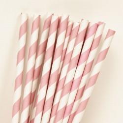 Cannucce a righe rosa e bianco 10pz