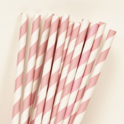 Light Pink Stripes Paper Straws