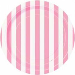 Pink Stripe Paper Dessert Plates