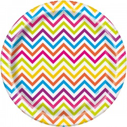 Rainbow Chevron Dinner Plates