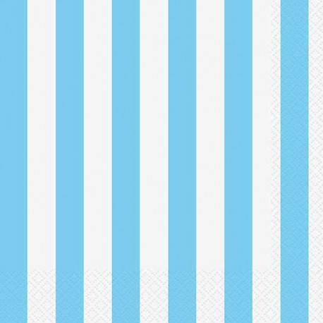 Light Blue Striped Dessert Plates
