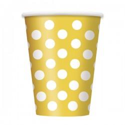 Bicchieri in carta Giallo a Pois
