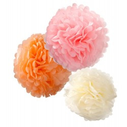 Pastel Pom Poms Mixed Sizes