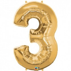 3 Gold SuperShape Foil Balloon