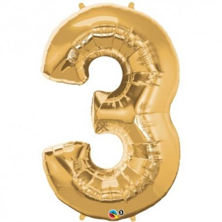 3 Gold SuperShape Foil Balloon
