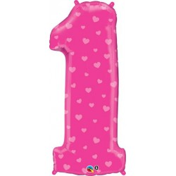 First Birthday Girl Pink Hearts Foil Balloon