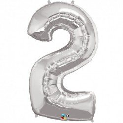 2 Silver SuperShape Foil Balloon