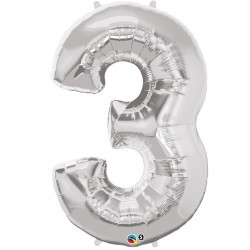 3 Silver SuperShape Foil Balloon
