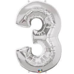 3 Silver SuperShape Foil Balloon