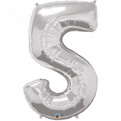 5 Silver SuperShape Foil Balloon