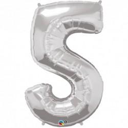 5 Silver SuperShape Foil Balloon