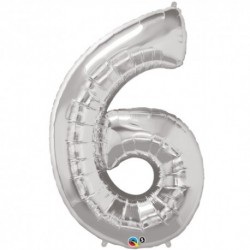 6 Silver SuperShape Foil Balloon