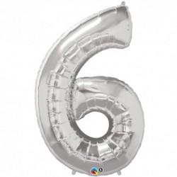 6 Silver SuperShape Foil Balloon