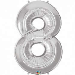 8 Silver SuperShape Foil Balloon