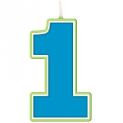 Blue and green First Birthday Candle