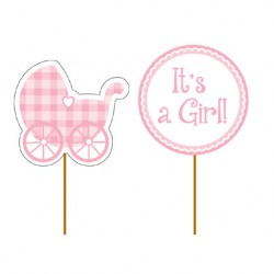 Stecchini decorati It's a Girl - Baby Shower Bimba