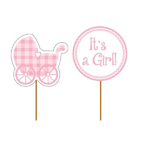 Stecchini decorati It's a Girl - Baby Shower Bimba