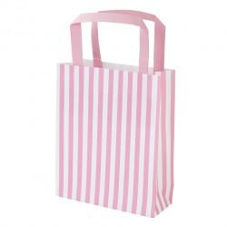 Borsine party a righe rosa e bianco