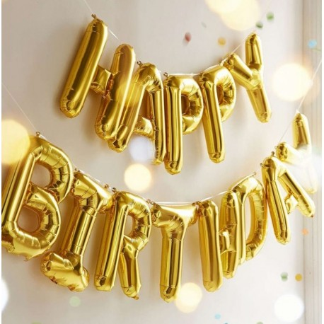Happy Birthday Gold Balloon Banners