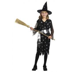 Costume Strega nero con ragnetti per Halloween Bambini 10-12 anni