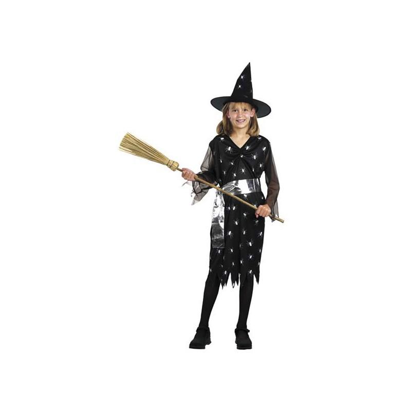 f0df502291df Costume Strega nero con ragnetti per Halloween Bambini 10-12 anni
