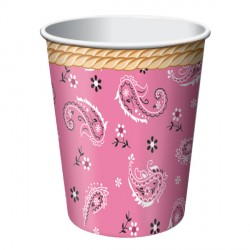 Bicchieri Pink Bandana per festa Western Bambina
