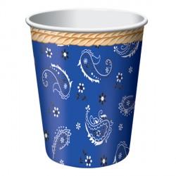 Bicchieri Blue Bandana per festa Western