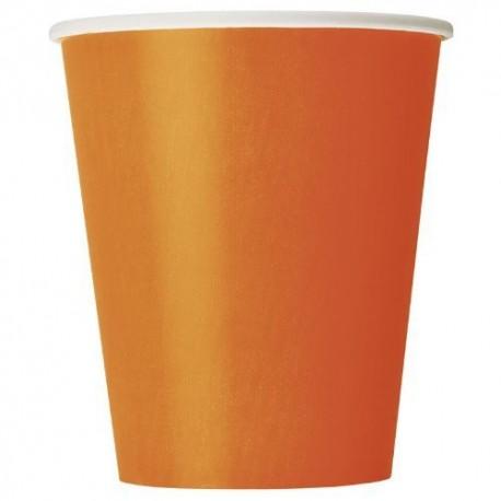 Bicchieri Carta Arancione 270ml 8pz