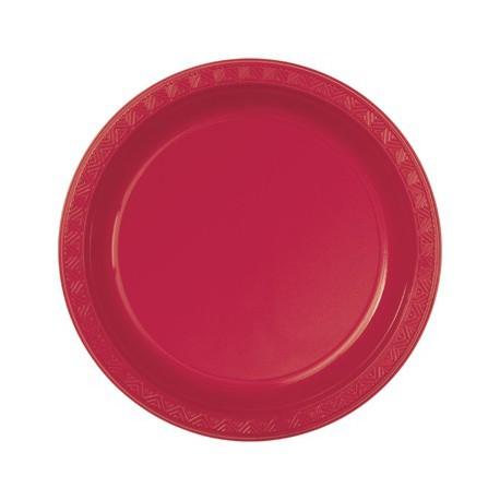 Piattini Plastica Rosso 18cm 12pz