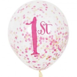 First Birthday Pink and Gold Confetti Balloons