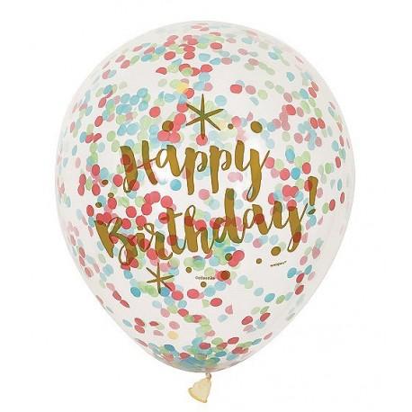 Palloncini con coriandoli Happy Birthday