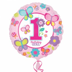 Butterfly First Birthday Foil Balloon