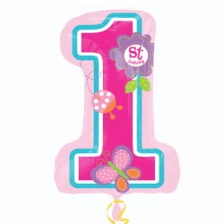 Butterfly First Birthday SuperShape Foil Balloon