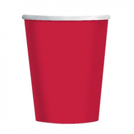 Bicchieri Carta Rosso 270ml 8pz